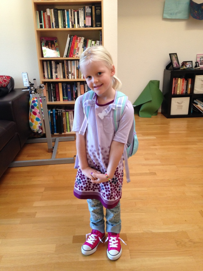 "Across the country this cutie was ""nervouscited"" about her first day of kindergarten."