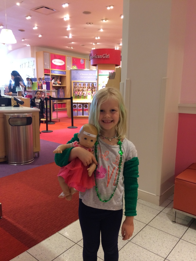 "As much as this trip was all about Claire we tried to make it fun for Chloe. Tea time at the American Girl store was just that. Or as Chloe put it, ""Best day ever!"""