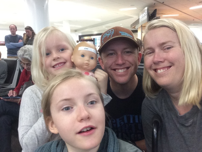 We were so excited to leave on this adventure. We even made it to the airport early enough to take a picture of us all smiling.