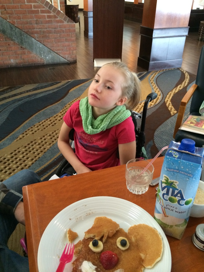 The amazing chef at breakfast took note when I passed on juice for Claire. She can only drink coconut water. The next morning he had some for her along with special pancakes which she enjoyed tremendously.