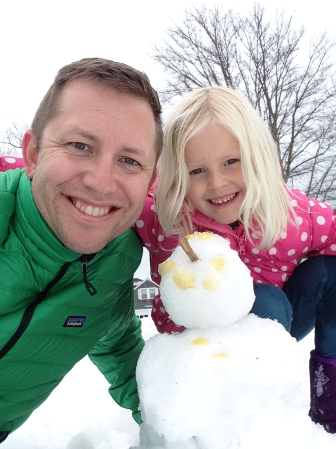 Chloe got to make her first snow man. She wasn't phased by a lack of gloves.